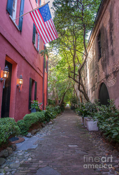 Photograph - Old Glory Flying Over Philadelphia Alley by Dale Powell