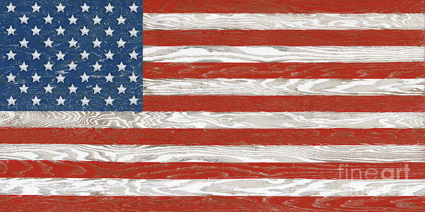 Wall Art - Digital Art - Old Glory On Wood-a by Jean Plout