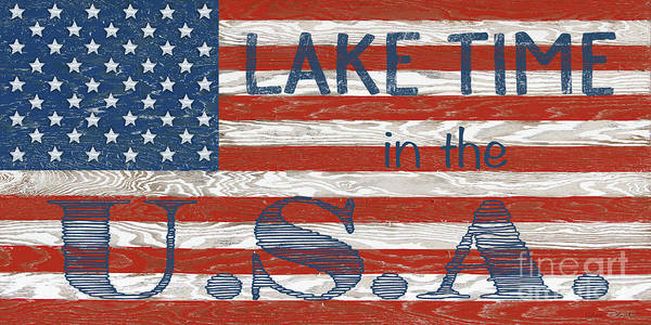 Wall Art - Digital Art - Old Glory On Wood-lake Time Usa by Jean Plout