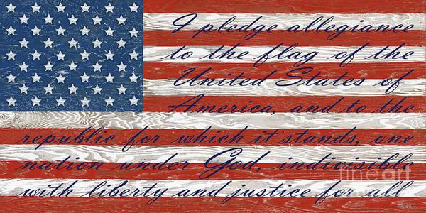 Wall Art - Digital Art - Old Glory On Wood-pledge Of Allegiance by Jean Plout