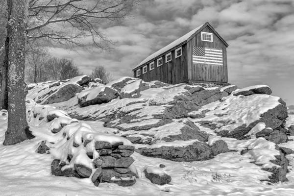 Photograph - Old Glory Winter Bw by Bill Wakeley