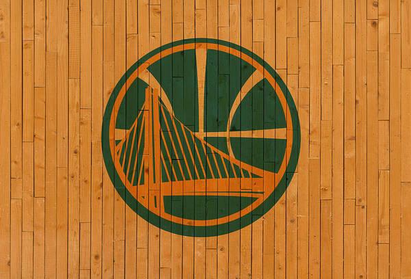 Golden Mixed Media - Old Golden State Warriors Basketball Gym Floor by Design Turnpike