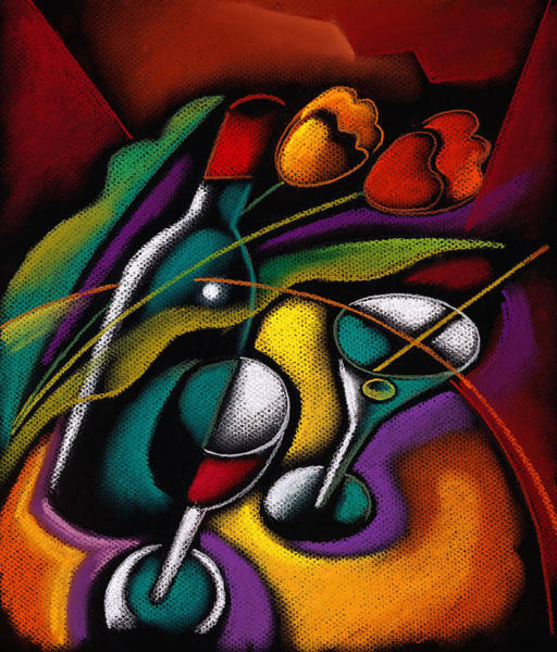 Wall Art - Painting - Wine And Flowers by Leon Zernitsky