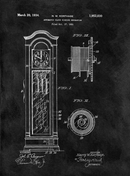 Drawing - Old Grandfather Clock Patent by Dan Sproul
