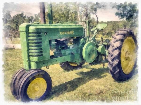 Wall Art - Digital Art - Old Green Vintage Tractor Watercolor by Edward Fielding