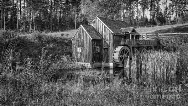 Photograph - Old Grist Mill In Vermont Black And White by Edward Fielding