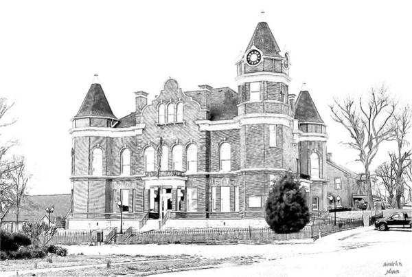 Digital Art - Old Hickman Ky Court House Digital Drawing  by Bonnie Willis