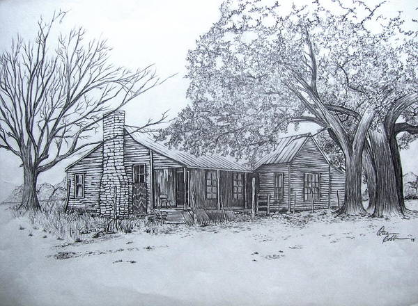 Homestead Drawing - Old Homestead by Otis  Cobb