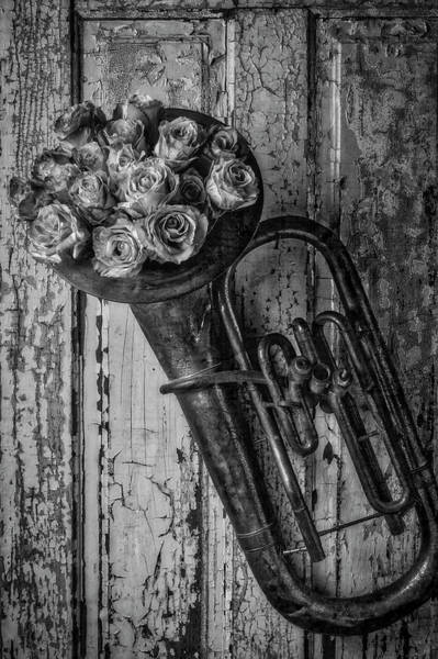 Wall Art - Photograph - Old Horn And Roses On Door Black And White by Garry Gay