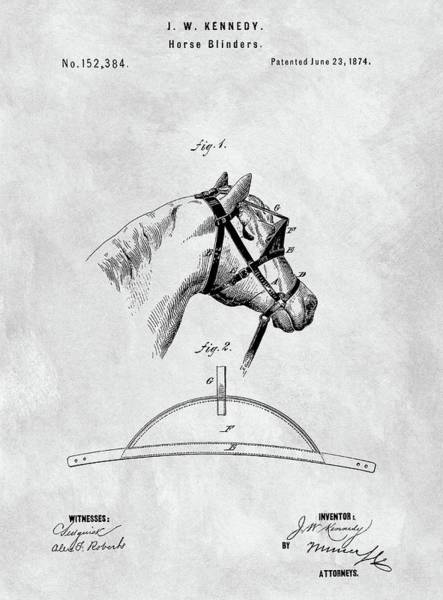 Drawing - Old Horse Blinker Patent by Dan Sproul