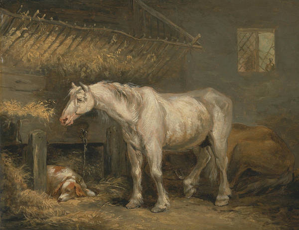 Wall Art - Painting - Old Horses With A Dog In A Stable by George Morland