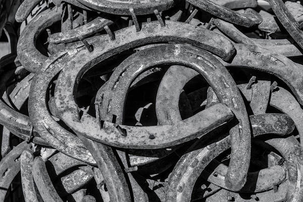 Wall Art - Photograph - Old Horseshoes In Black And White by Garry Gay