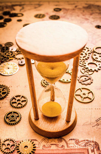 Mechanism Photograph - Old Hourglass Near Clock Gears On Old Map by Jorgo Photography - Wall Art Gallery