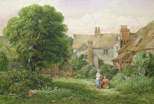 Crop Painting - Old House At Hendon  by Bernard Walter Evans