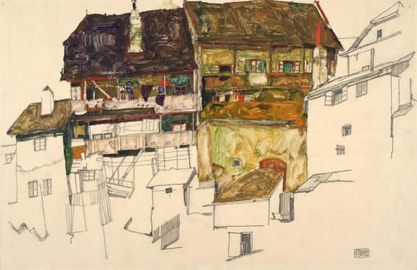 Drawing - Old Houses In Krumau by Egon Schiele