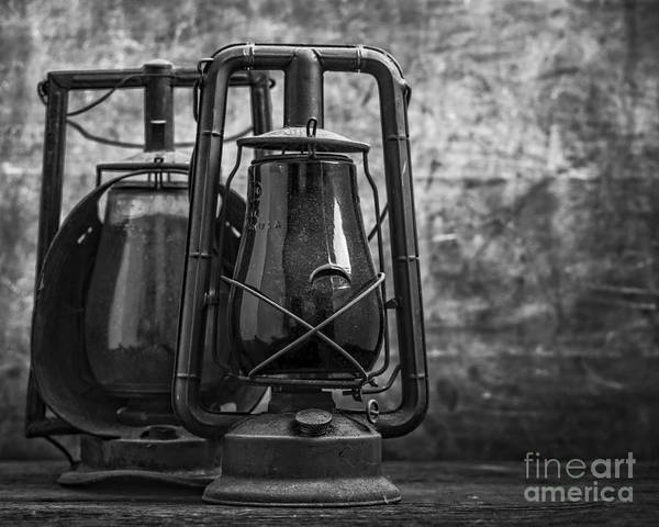 Photograph - Old Hurricane Lanterns Black And White by Edward Fielding