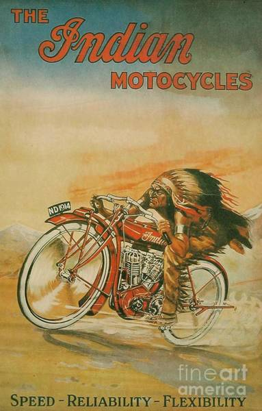 Wall Art - Painting - Old Indian Motorcycle by Pd