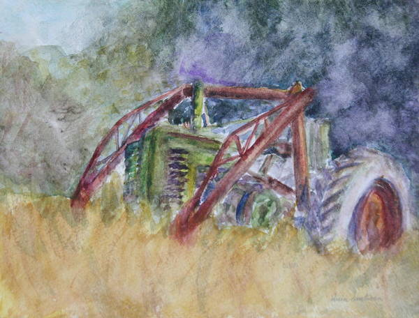 Painting - Old John Deere Tractor In The Back 40 by Quin Sweetman