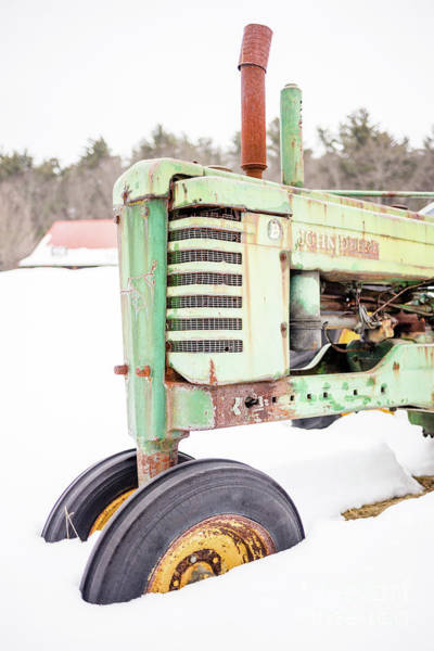 Photograph - Old Green Tractor In The Snow Vermont by Edward Fielding