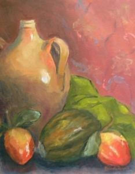 Persimmon Painting - Old Jug And Persimmons by Brenda Williams