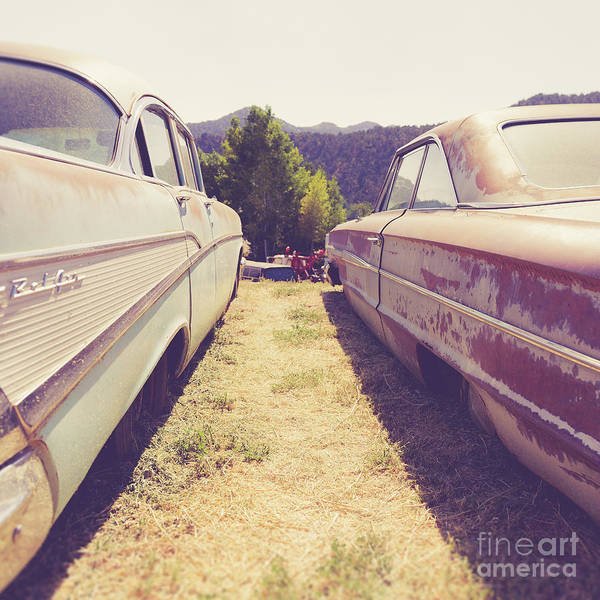 Photograph - Old Junkyard Cars Chevy And Ford Utah by Edward Fielding