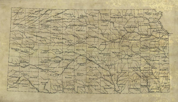 Wall Art - Drawing - Old Kansas Map - 1893 by Blue Monocle