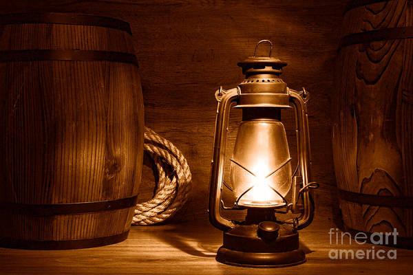 Oil Lamp Photograph - Old Kerosene Lantern - Sepia by Olivier Le Queinec