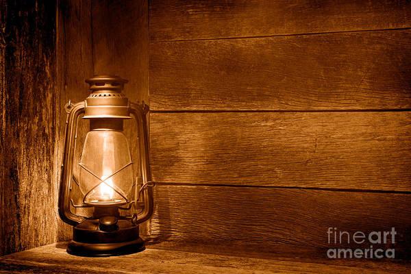Oil Lamp Photograph - Old Kerosene Light - Sepia by Olivier Le Queinec
