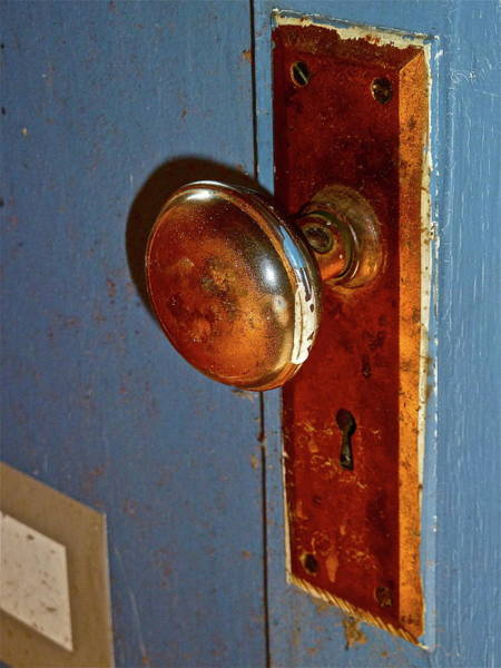 Photograph - Old Knob On Blue Door by Diana Hatcher