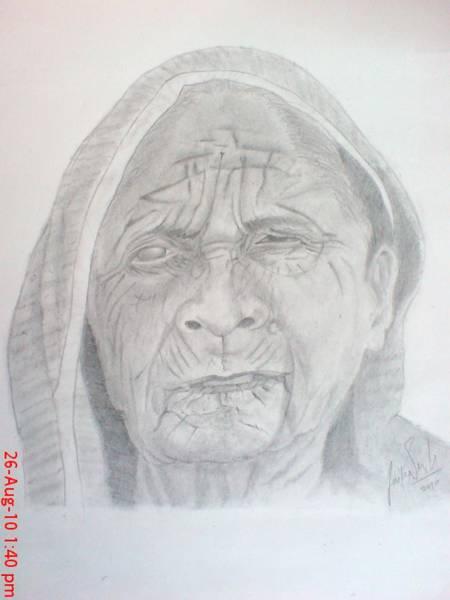 Singh Drawing - Old Lady by Jaiteg Singh