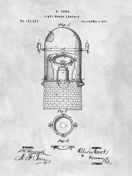 Wall Art - Drawing - Old Lighthouse Lantern Patent by Dan Sproul