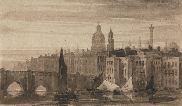 Painting - Old London Bridge And St. Paul's Cathedral From The Thames by David Cox