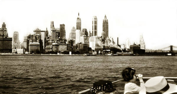 Photograph - Old Lower Manahattan 1951 Boat People Skyline by Marilyn Hunt