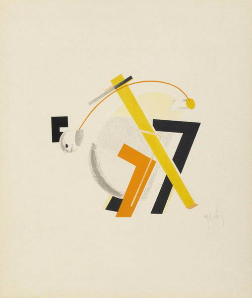 Constructivism Painting - Old Man, His Head Two Paces Behind by El Lissitzky