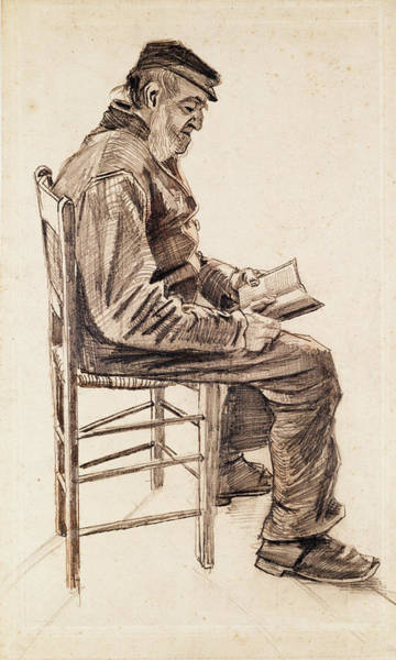 Rocking Chairs Painting - Old Man Reading, 1882 by Vincent Van Gogh