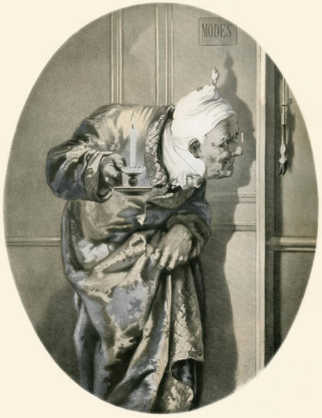Dirty Drawing - Old Man Spying Through Keyhole. From by Vintage Design Pics