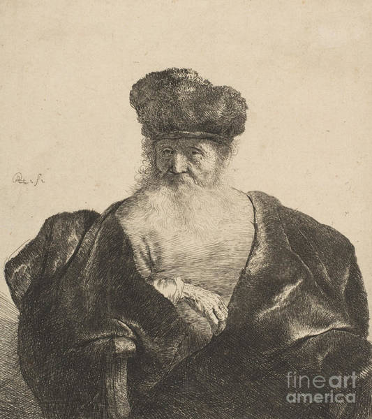 Male Model Drawing - Old Man With Beard, Fur Cap, And Velvet Cloak, Circa 1631 by Rembrandt