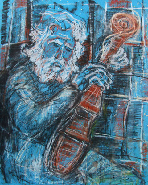 Pastel - Old Man's Violin by Katt Yanda