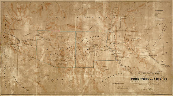 Wall Art - Drawing - Old Map Of Arizona And New Mexico By Arthur De Witzleben - 1860 by Blue Monocle