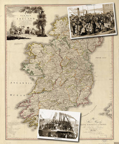 Vintage Map Of Ireland With Old Irish Woodcuts Art Print