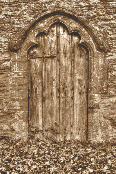 Photograph - Old Medieval Wooden Door With Decorative Arch And Autumn Leaves  by Jacek Wojnarowski