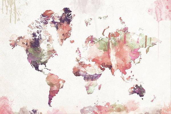 New Trend Digital Art - Old Memories World Map by Zaira Dzhaubaeva