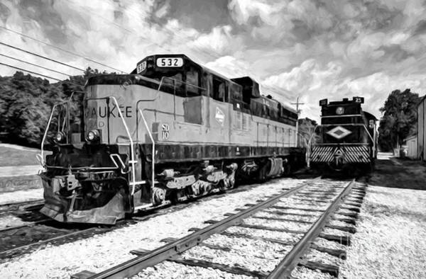 Photograph - Old Milwaukee Engine # 532 Black And White by Mel Steinhauer
