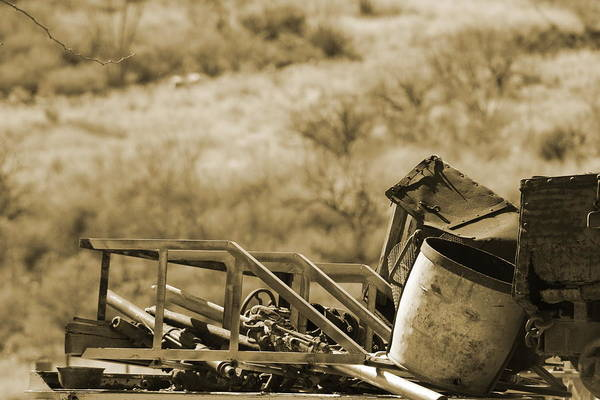 Photograph - Old Mining Equipment On Cart In Sepia by Colleen Cornelius