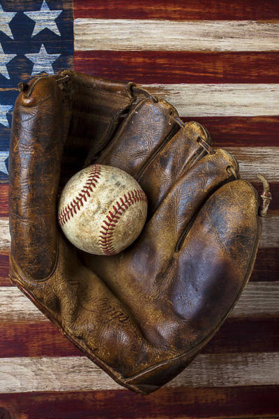 Gay Flag Photograph - Old Mitt And Baseball by Garry Gay