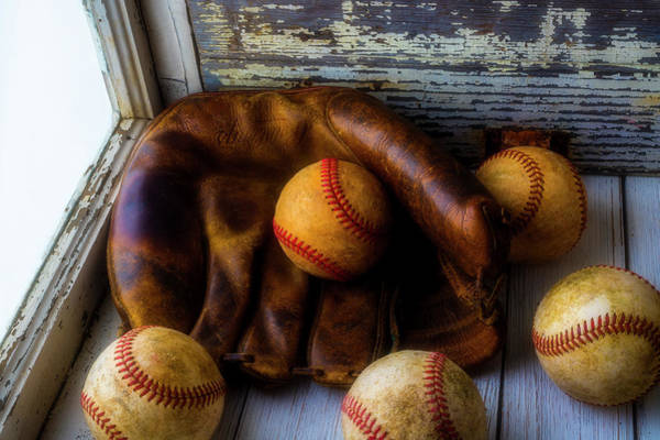 Wall Art - Photograph - Old Mitt With Balls In Window by Garry Gay