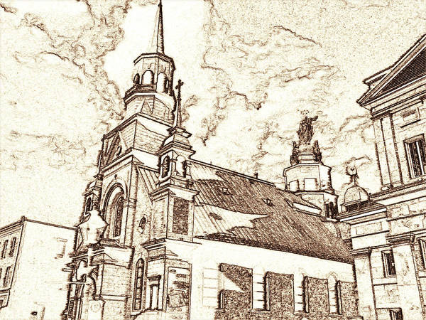 Drawing - Old Montreal Chapel - Pencil by Peter Potter