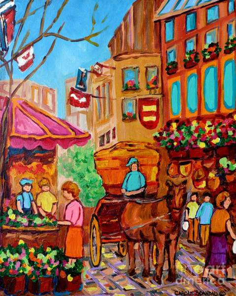 Painting - Old Montreal Painting Vieux Port Flower Vendor Caleche Scene Carole Spandau Street  Scene Art  by Carole Spandau