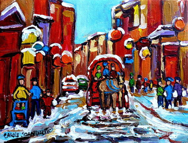 Painting - Old Montreal Paintings Quebec Caleche Winter Scenes Canadian Art Carole Spandau                      by Carole Spandau