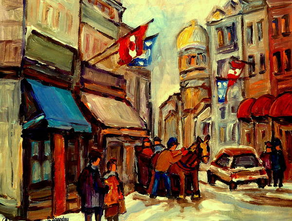 Quebec Flag Painting - Old Montreal Rue St Paul Winterscene With Caleche  by Carole Spandau